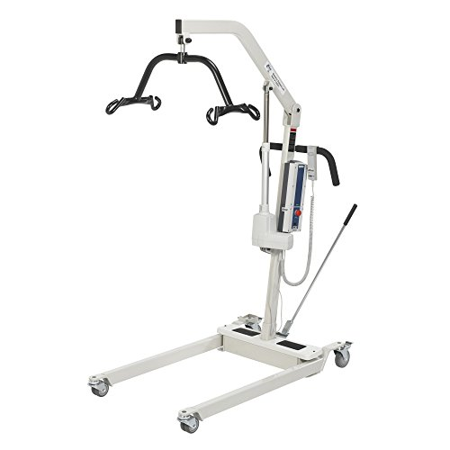 Drive Medical Bariatric Electric Patient Lift with Rechargeable Battery and Six Point Cradle, White ()