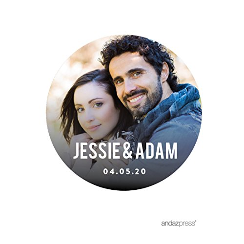 - Andaz Press Photo Personalized Modern Wedding Collection, Round Circle Gift Label Stickers Bride Groom Names and Date, 40-Pack, Custom Image