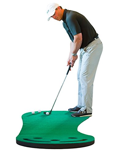 Premium Golf Putting Green & Indoor Mat 9'x3' (Designed By Shaun Webb, PGA Pro & Golf Digest's Top Teacher) Premium Backing, No Creases, Deeper Holes, Thicker & Wider Surface
