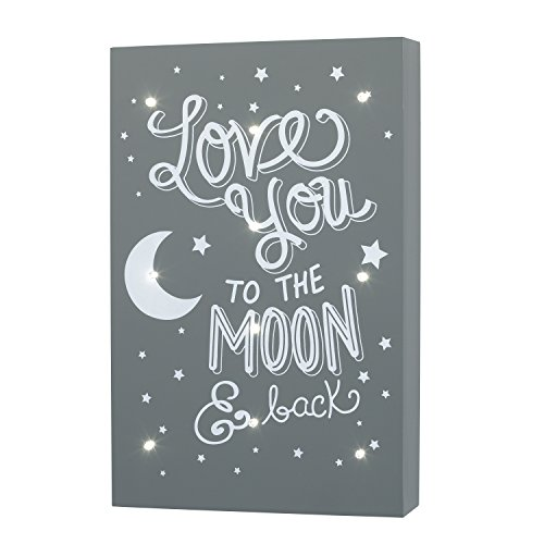 Little Love by NoJo Celestial Lighted Wall Decor, Love You to the Moon and Back, Gray/White Baby Boy Wall Decor