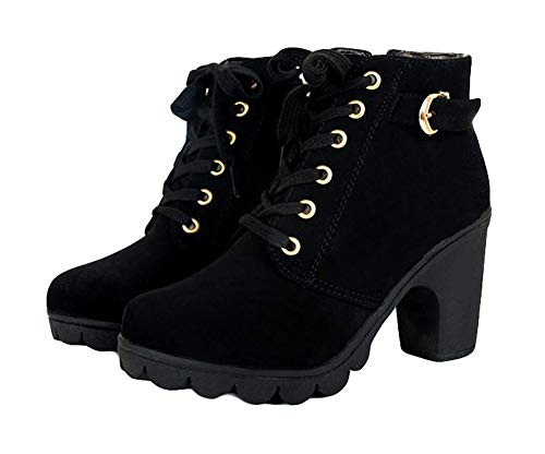 King Ma Womens Fashion Chunky High Heel Lace-up Thick Ankle Female Boots Martin Booties Black