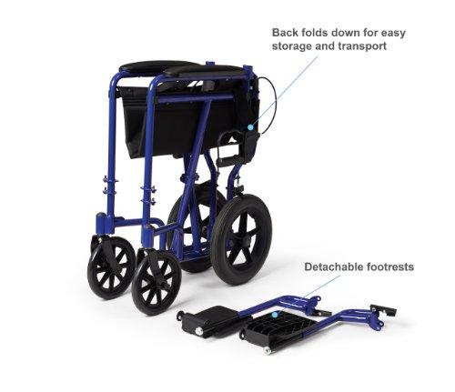 Medline Lightweight Transport Adult Folding Wheelchair
