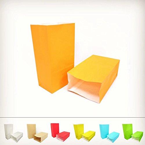 KIYOOMY 50 CT Party Favor Printed Paper Gift Bags Orange Kraft Paper Bags For Kid's Halloween Party Gift Giving Bags
