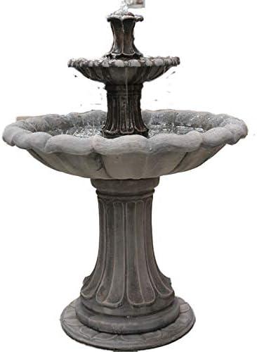 Jardín de piedra agua fountaib, 5 pies grandes entusiasmada 2 pisos fuente autónomo al aire libre (función de agua para jardín: Amazon.es: Jardín