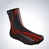 Han cheng he Cycling Shoe Covers PU Fluff Windproof Waterproof Shoe Cover Winter Warm Fabric Mountain Bike Riding Shoe Cover Winter Windproof Warm Protection (Color : Red, Size : M)
