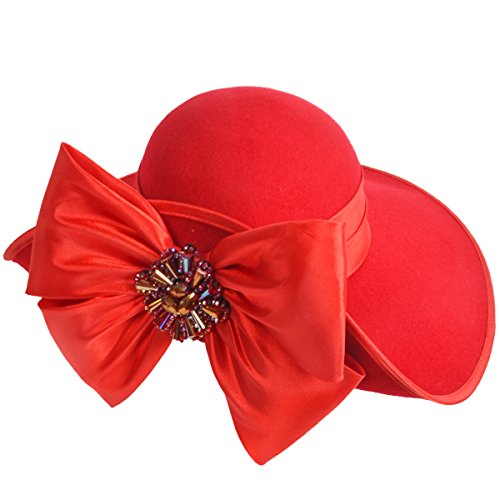 VECRY Ladies 100% Wool Felt Feather Cocktail British Formal Party Hat (Bow-Red)