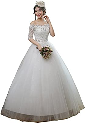 Clover Bridal 2017 Bateau Off Shoulder Half Sleeves Lace Ball Gown Wedding Dress Ivory