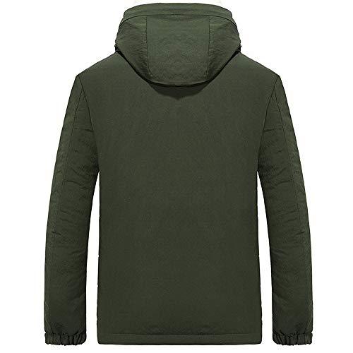 Pervobs Men's Lined Warm Zipper Pocket Hooded Jacket Outerwear