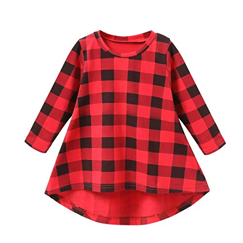 Fozerofo Toddler Baby Girl Plaid Shirt Dress Long Sleeve Princess Party Dress Clothes Outfits Red -