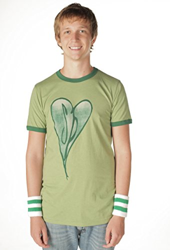 The Smashing Pumpkins Distressed Heart Heather Green Adult T-shirt Tee