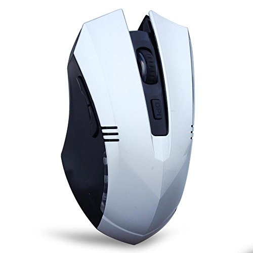 Tonor® 2.4GHz 1000/1600 DPI Switch 6D Wireless Optical Mouse Cordless Gaming Mouse for Laptop Computer Macbook Silver-12 months warranty.