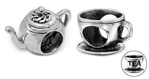 (Best Wing Jewelry .925 Sterling Silver Tea Cup and Tea Pot Set Charm Bead (2 Pcs))