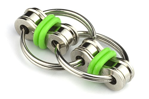 Tom's Fidgets Flippy Chain Fidget Toy Perfect for ADHD, Anxiety, and Autism - Bike Chain Fidget Stress Reducer for Adults and Kids - Green