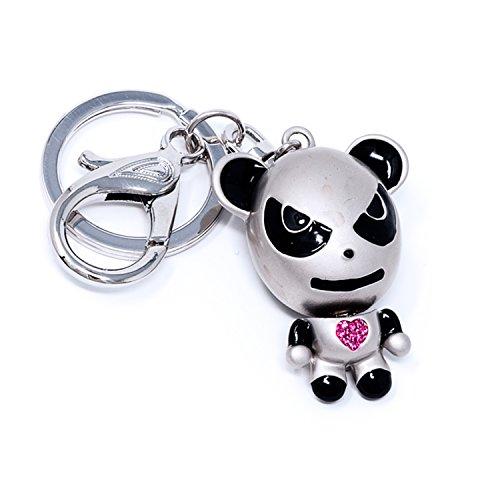 Bear Enamel Key Ring - Fashion Keychain for Women Gold/Silver Key Ring Bear Crystal Rhinestone Purse Decoration (Silver/Pink heart bear)