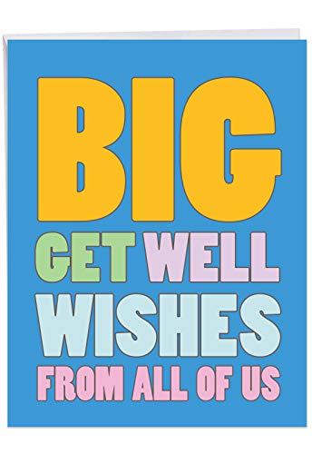Big Get Well Wishes - Feel Better Greeting Card with Envelope (Large 8.5 x 11 inch) - Sympathy, Get Well Soon Note Card From All Of Us, Family - Thinking of You Stationery J2721GWG-US