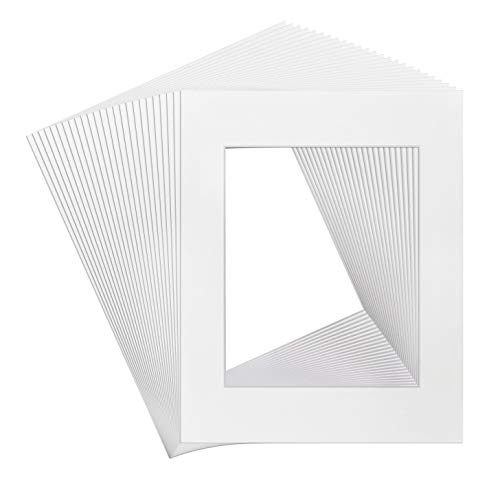 Golden State Art, Acid Free, Pack of 25 11x14 White Picture Mats Mattes with White Core Bevel Cut for 8x10 Photo (Discount Automotive Tools)