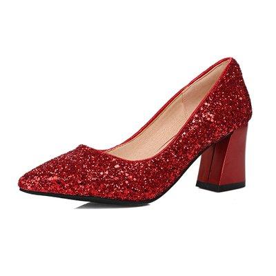 Boda Rojas La Cristal Tacón Zapatos Cuadrado Nupcial De Alto Las De De Caída Pinted Plata Alto heel Lentejuelas Lentejuelas Mujeres Tacón Toe 8cm Zapatos Zapato De De Tacón De Mujeres VIVIOO YIZRdwR