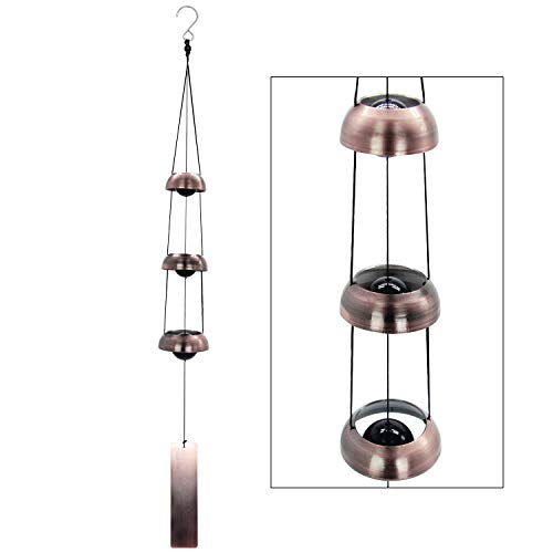 (Astarin Temple Wind Chime, Red Copper Wind Chimes with 3 Bells, Feng Shui Wind Chimes for Home Yard Outdoor Decoration, A Great Memorial Wind Chime for Someone Who Loves Peace)