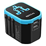Travel Adapter - EPICKA All in One Worldwide Universal Power Adapter AC Plug Adapter with Dual USB Charging Ports For USA EU UK AUS Cell Phone Tablet Laptop (Blue new)