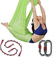 Dasking Deluxe 5m/Set Yoga Swing Aerial Yoga Hammock kit with Daisy Chains Carabiners, Fabric & G