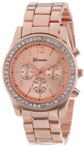 Geneva Women's 2362-rosegold-GEN Cubic Zirconia-Accented Rose Gold-Tone Watch