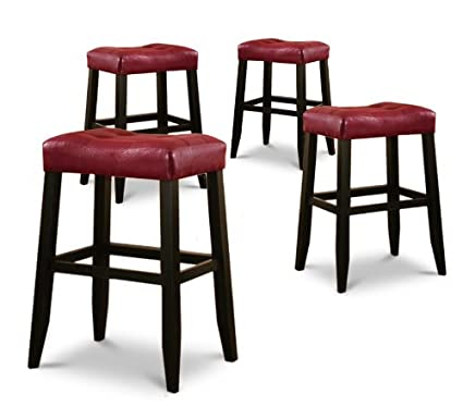 Amazoncom 4 29 Red Cushion Saddle Back Black Finish Bar Stools