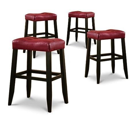 4 29u0026quot; Red Cushion Saddle Back Black Finish Bar Stools  sc 1 st  Amazon.com & Amazon.com: 4 29