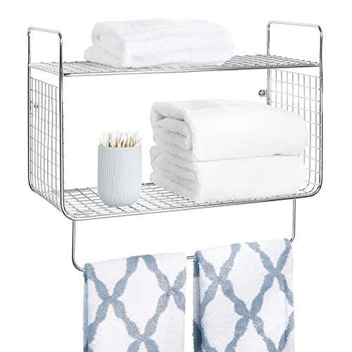 - mDesign Metal Wire Farmhouse Wall Decor Storage Organizer 2 Tier Shelf with Towel Bar for Bathroom, Laundry Room, Kitchen, Garage - Wall Mount - Chrome