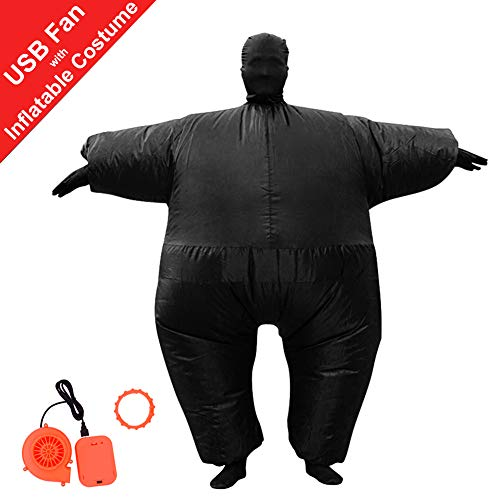 HUAYUARTS Inflatable Full Body Suit Costume Adult Funny Cosplay Cloth Party Toy for Halloween Christmas, Free Size, Black