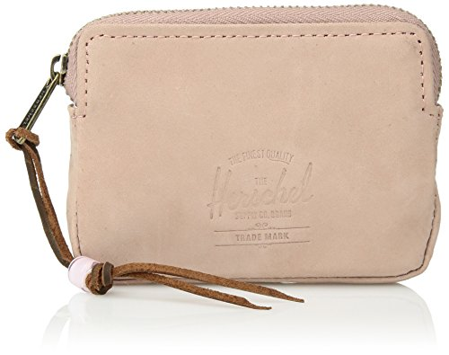 Herschel Supply Co. Unisex-Adult's Oxford Zipper Pouch Leather RFID Blocking Wallet, ash rose, One Size