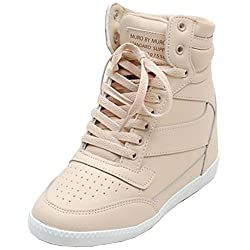 Epicsnob Womens Beige Shoes Lace Up High Top Hidden Wedge Synthetic Fashion Sneakers 6 M US