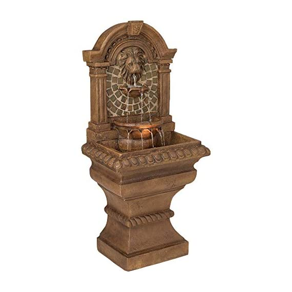 """John Timberland Royal Lions Head Mediterranean Outdoor Wall Water Fountain with Light LED 51"""" High 3 Tiered for Yard Garden Patio Deck Home - 51"""" high x 23 1/2"""" wide x 15 1/2"""" deep. Bottom of base is 16"""" wide x 13"""" deep. Weighs 48 lbs. Lions head garden fountain. Designed to be set against a house or garden wall. By John Timberland. Light in the middle water basin lights the fountain at night. - patio, outdoor-decor, fountains - 41mj7LA%2BW5L. SS570  -"""