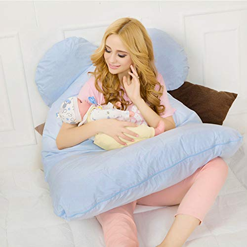 Fancy Buying 51″ Body Pregnancy Pillow, U-Shaped Maternity Pillow for Sleeping with Nursing Baby Design, w/Removable Cotton Cover – Sky Blue (Gift)