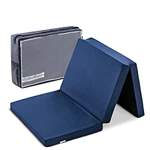 Hauck Sleeper - Colchon de espuma 60 cm x 120 cm, alto 6 cm para cunas de viaje, plegable en 3 piezas con bolsa de transporte, azul