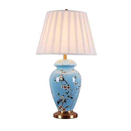 ETERN Chinese ceramics table lamp living room bedroom high-end pure copper lamps ( Size : L ) by ETERN Table Lamp