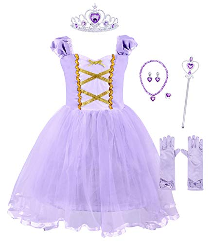 MetCuento Rapunzel Costume for Girls Halloween Dress Up Costume Princess Tutu Elastic Sleeve Fancy Party Birthday Outfit 3T (Purple, with Accessories)]()
