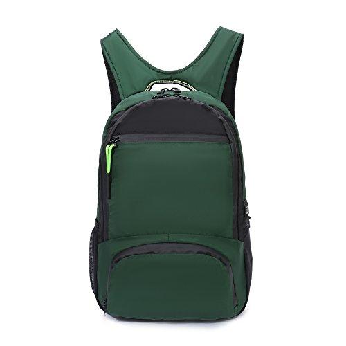 Yinjue Foldable Backpack Sport Shoulder Bag Gymsack Cinch Sack Knapsack Water Resistant Hiking Daypack Lightweight Packable for Travel Yoga Beach(Dark green0020)