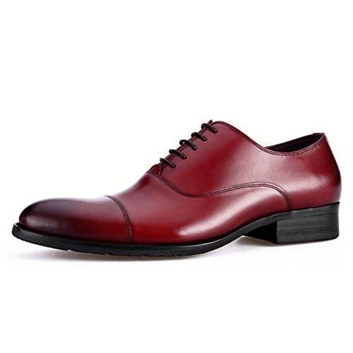 LYZGF Hommes Jeunes Affaires Occasionnels Mode Gentleman Dentelle Chaussures en Cuir Burgundy dFIBmgZ