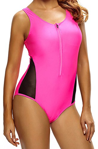 YeeATZ Women Sexy Lace up Back One Piece Swimsuit Mesh Splicing Rosy Tank Zipped Teen Monokini Swimwear