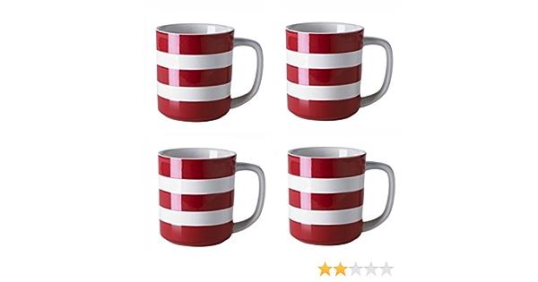 10oz Cornishware Red and White Stripe Set of 2 Coffee Cups Mugs