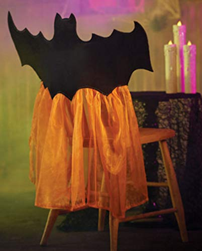 Halloween Orange Tulle Bat Chair Covers, Set of 2, for Parties, Events