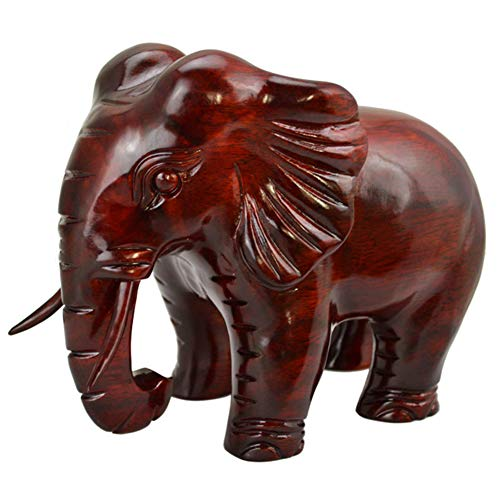 (TSAR003 Wooden Sculpture Elephant, Hand-Carved Mahogany Animal Ornaments Home Decoration)