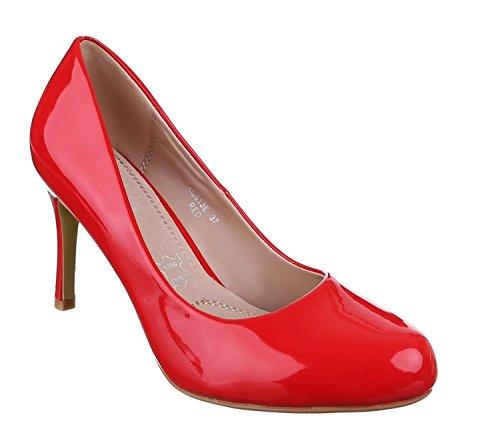 Klassische Damen Lack Pumps Glänzend Stilettos Abend Schuhe Party Hochzeit XQ Rot
