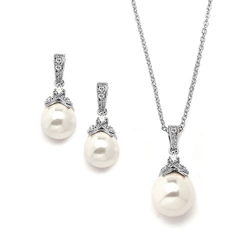 Antique pearl bridal necklace amazon mariell vintage cz and ivory glass pearl wedding necklace earrings set genuine silver platinum plated aloadofball Images