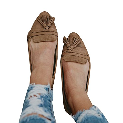 Faisean Womens Pointy Toe Ballet Flat Penny Loafers Fringe Shoes Casual Slip On Flats Shoes Brown