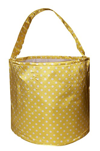 Personalized Childrens Satin Polka Dots Fabric Bucket Tote Bag - Toys- Easter (Yellow) -