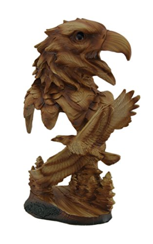Zeckos Carved Wood Look Bald Eagle Bust and Scene Tabletop Statue