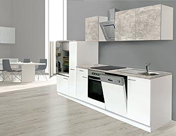 respekta Einbau Küche Küchenzeile Küchenblock 310 cm Weiss Beton ...