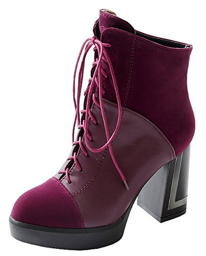 Block Sexy Boots Red Platform Ankle Booties Wine Lace High Martin Womens IDIFU Heel Up z5qOntYWw