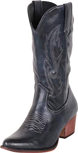 Cambridge Select Women's Pointed Toe Western Distressed Stitched Mid-Calf Cowboy Boot,8.5 B(M) US,Navy PU
